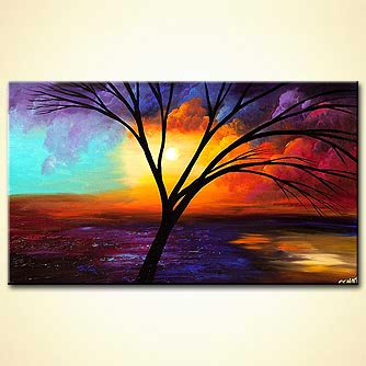 Abstract art by Osnat Tzadok - leafless tree over colorful sunrise