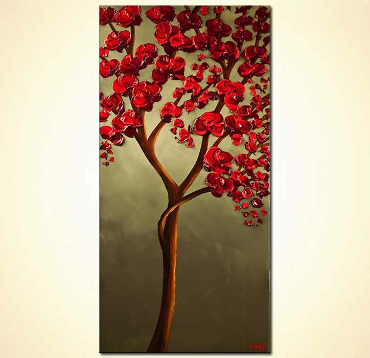 Red Blooming Tree Painting on Olive Background