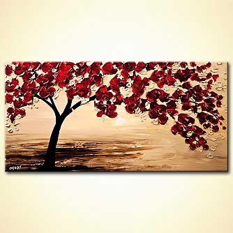 Abstract art by Osnat Tzadok - red tree blooming