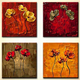 Abstract art by Osnat Tzadok - small floral paintings