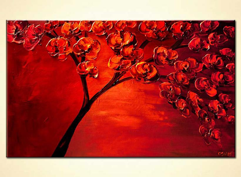 painting textured painting of blooming red tree 6128