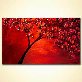 Abstract art by Osnat Tzadok - textured painting of blooming red tree