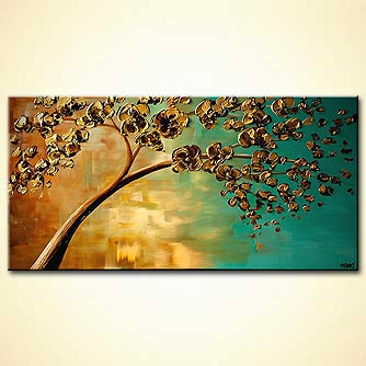 Abstract art by Osnat Tzadok - yellow flowering tree