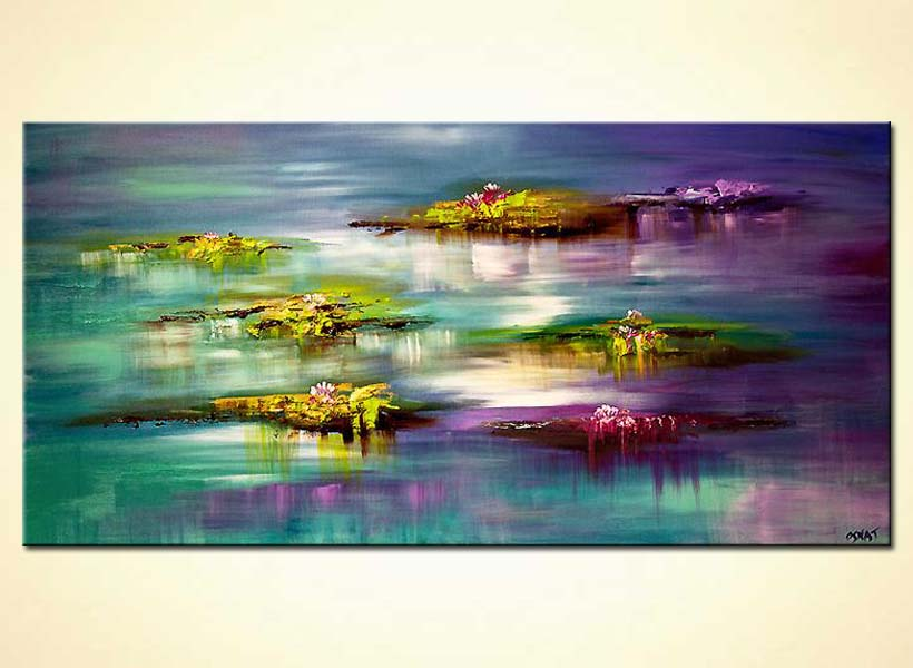 Abstract Lilly Pads Modern Palette Knife
