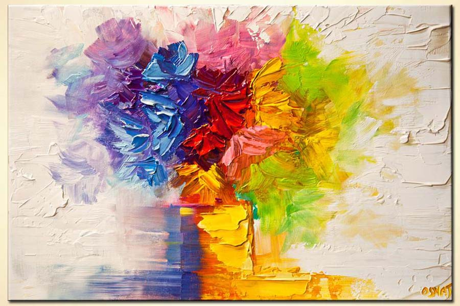 Painting colorful flowers in vase modern palette knife 6177 for Flower paintings on canvas