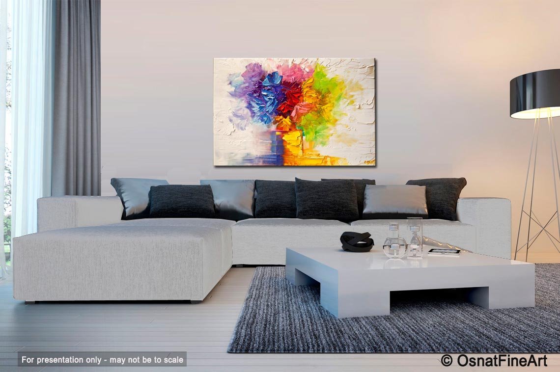 Painting For Sale Colorful Flowers In Vase Modern Palette Knife 6177