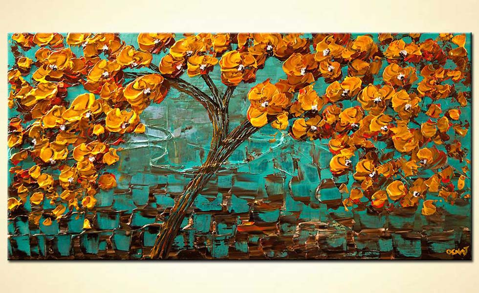 orange blooming tree on turquoise background