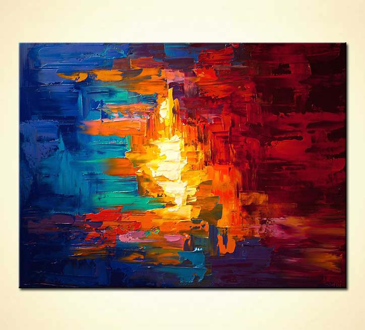 Painting original colorful abstract modern palette knife for Modern abstract paintings for sale