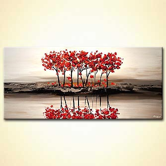 Painting For Sale Red Blooming Trees On White Textured