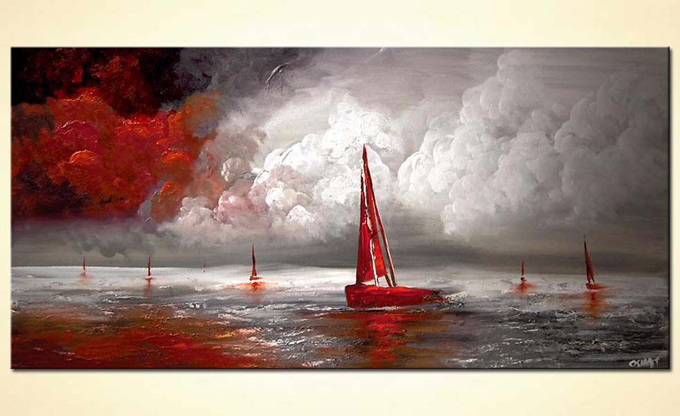 red sail boat seascape painting modern palette knife