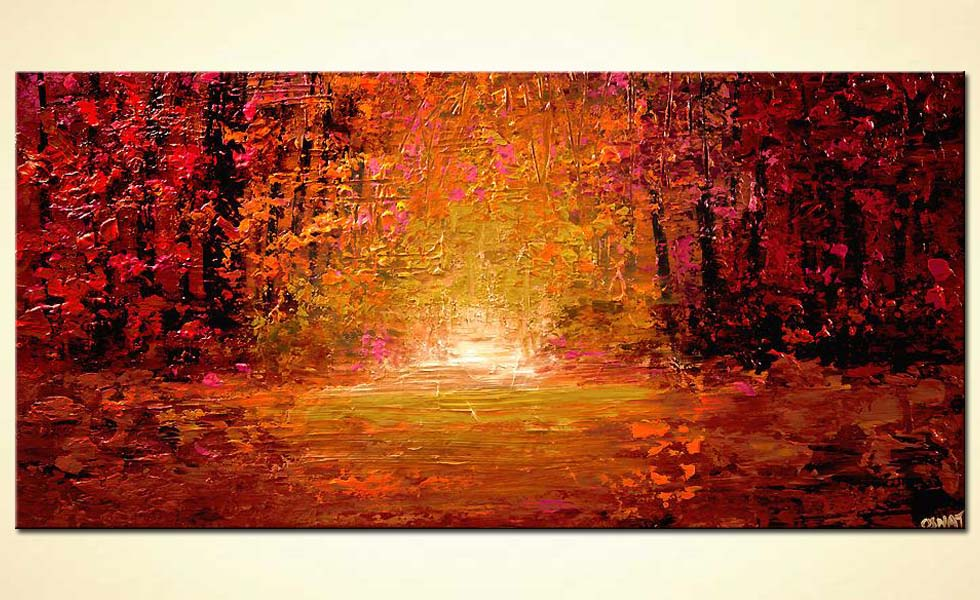 textured abstract landscape colorful forest painting