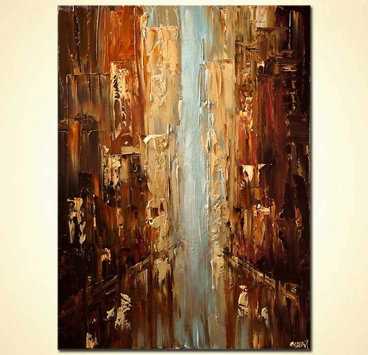 Painting abstract city palette knife 6209 for Sell abstract art online