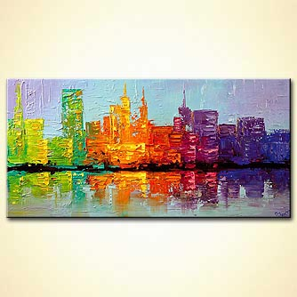 city painting colorful textured NYC city skyline
