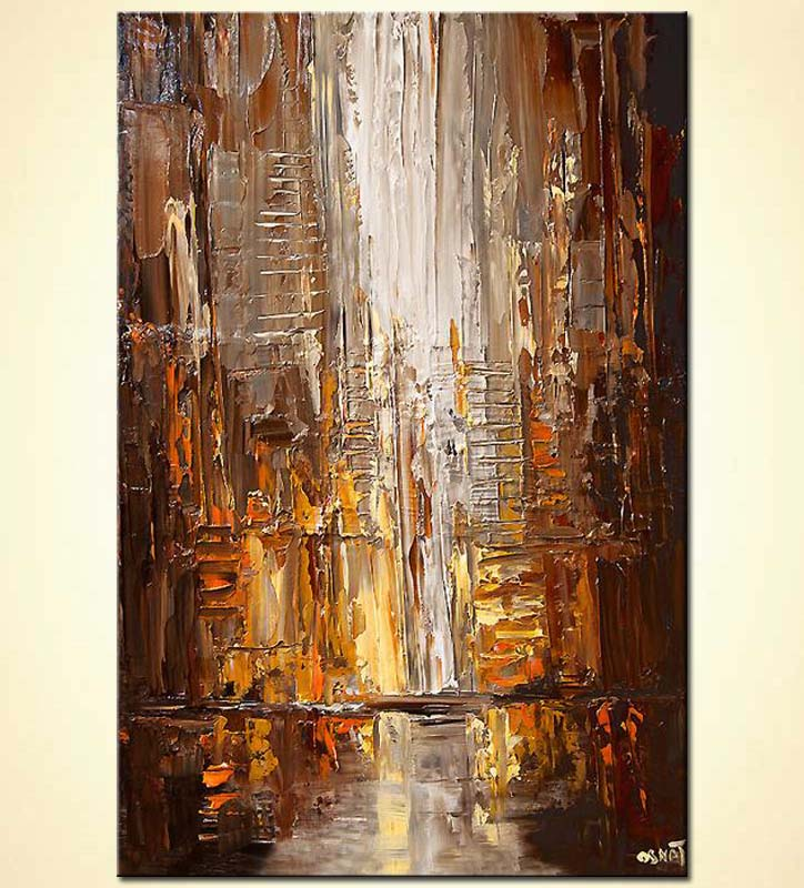 city painting modern palette knife