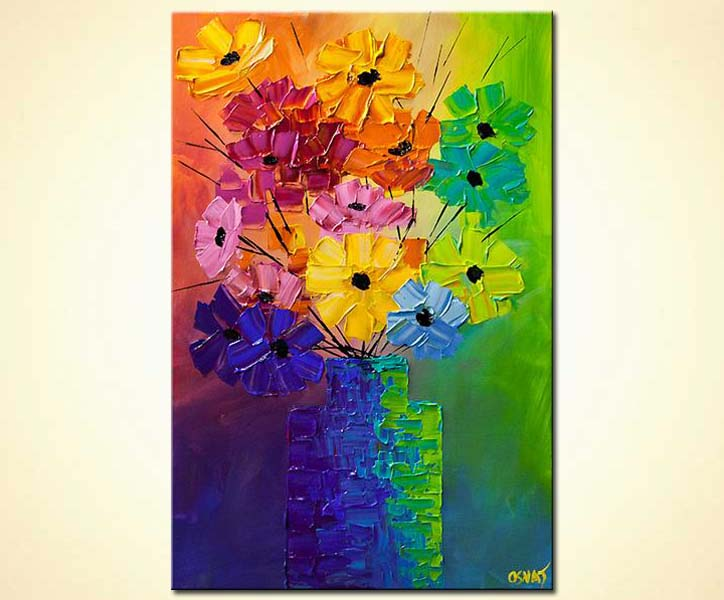 colorful abstract flowers in a vase modern palette knife