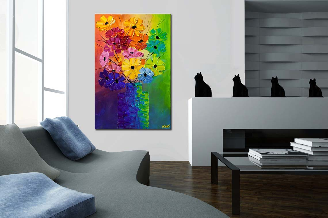 Buy colorful abstract flowers in a vase modern palette knife #6204 on abstract oil painting, abstract heart art painting, abstract art paintings by famous artist, sunflower paintings vase, abstract ceramic vases, claude monet flower vase, abstract tulip paintings, pencil drawing still life flowers in a vase, abstract paintings of flowers, abstract art paintings flowers, folk art flower vase, abstract drawings of flowers,