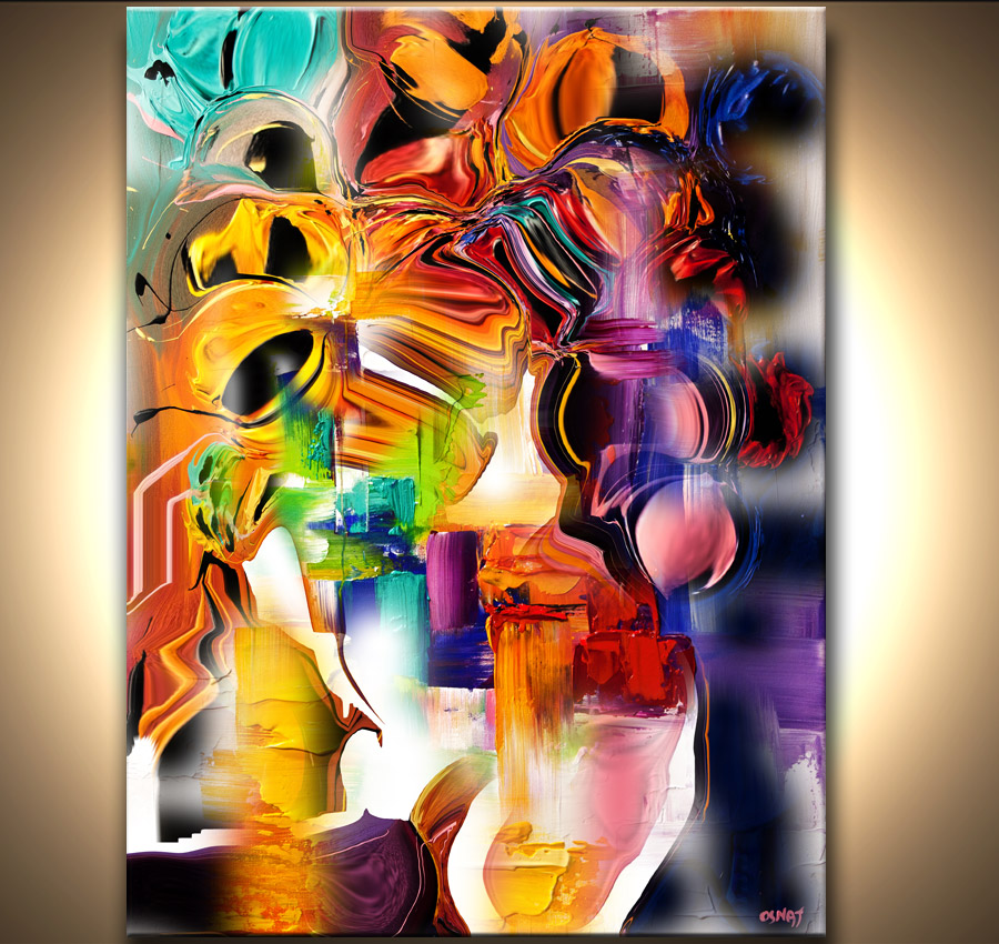 Painting colorful abstract print on canvas 7198 for Art print for sale