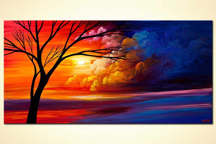 colorful heaven tree landscape painting