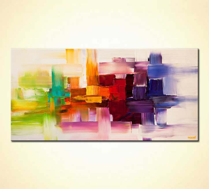 Abstract painting - colorful modern abstract art textured painting ...
