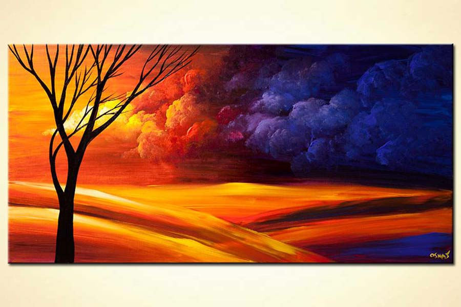contemporary landscape painting colorful sky