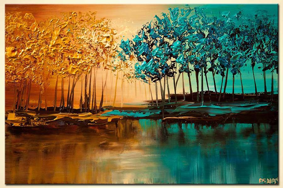 Painting Modern Landscape Textured Blooming Trees