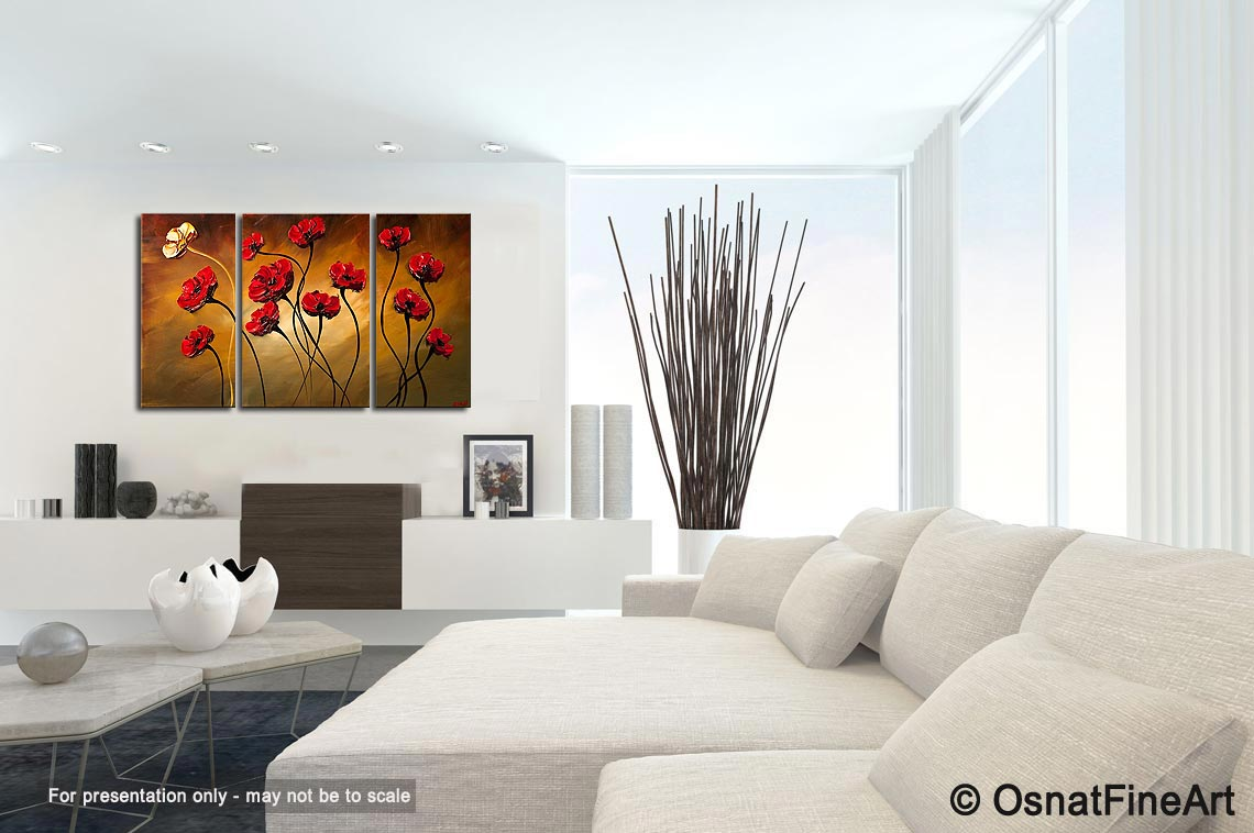 Painting - red poppies modern palette knife #6203