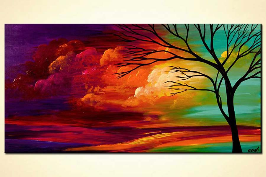Painting abstract landscape colorful sunset painting 6217 for Best place to buy paintings online