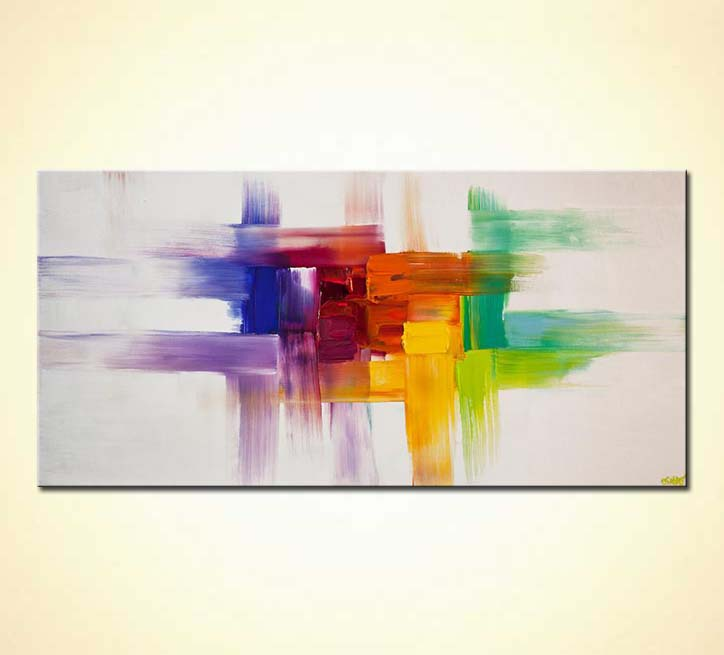 Painting Colorful Abstract Painting On White 6226