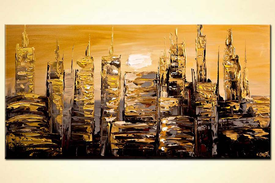 buy gold abstract city painting modern palette knife 7233