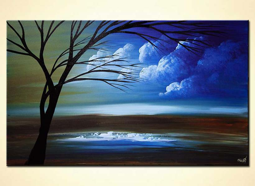 Painting For Sale Green Blue Landscape Tree Painting 6219