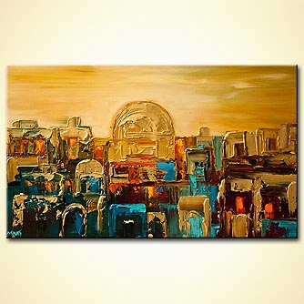 Jerusalem gold palette knife city painting