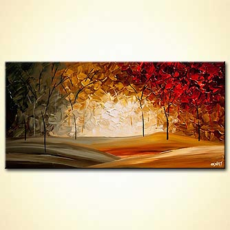 modern abstract landscape blooming trees textured painting