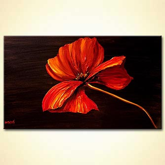 red poppy modern palette knife painting