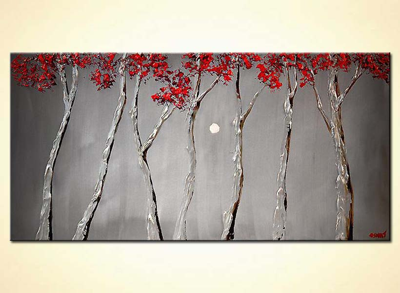 blooming silver trees red tree tops heavy texture