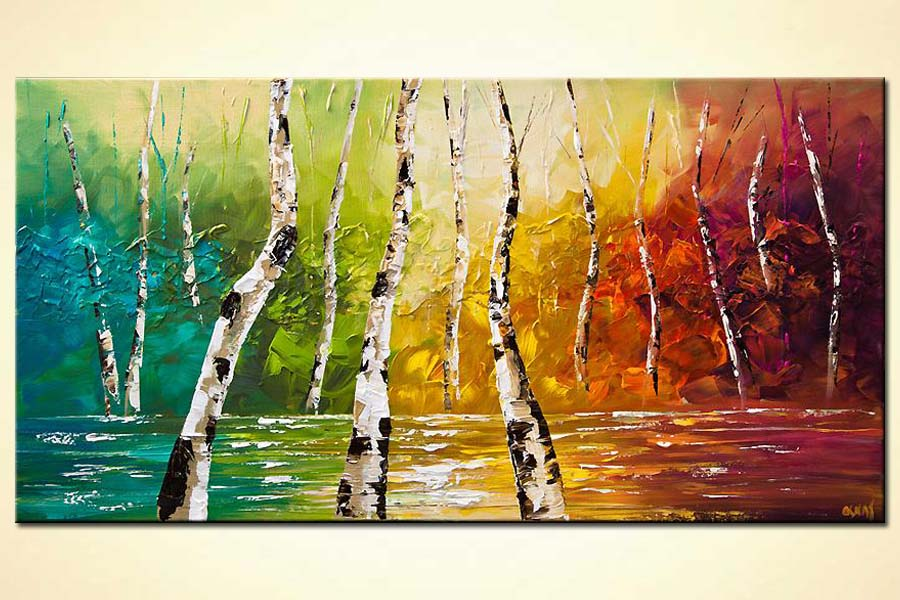 Painting For Sale Colorful Landscape Birch Trees Palette