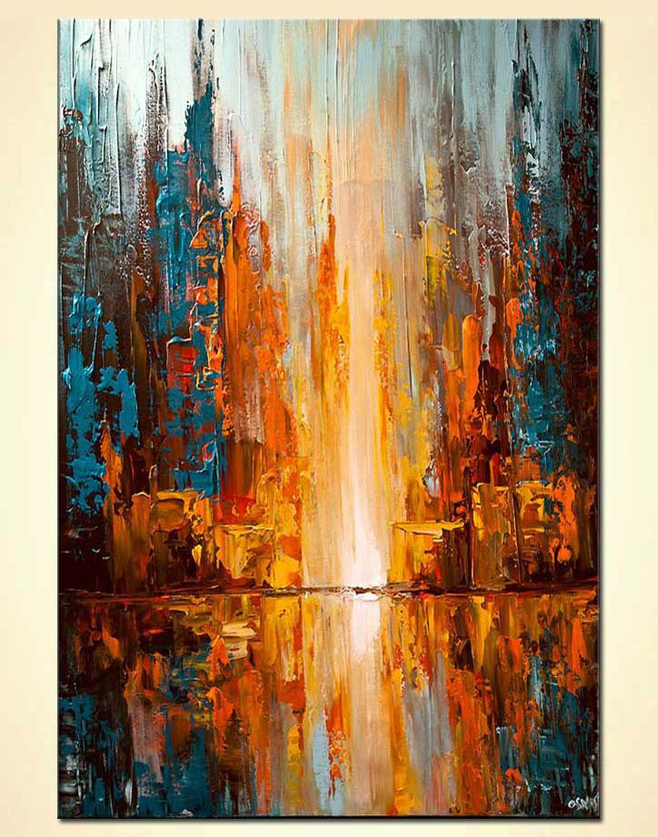 Painting colorful city lights abstract painting palette for Artwork on canvas for sale