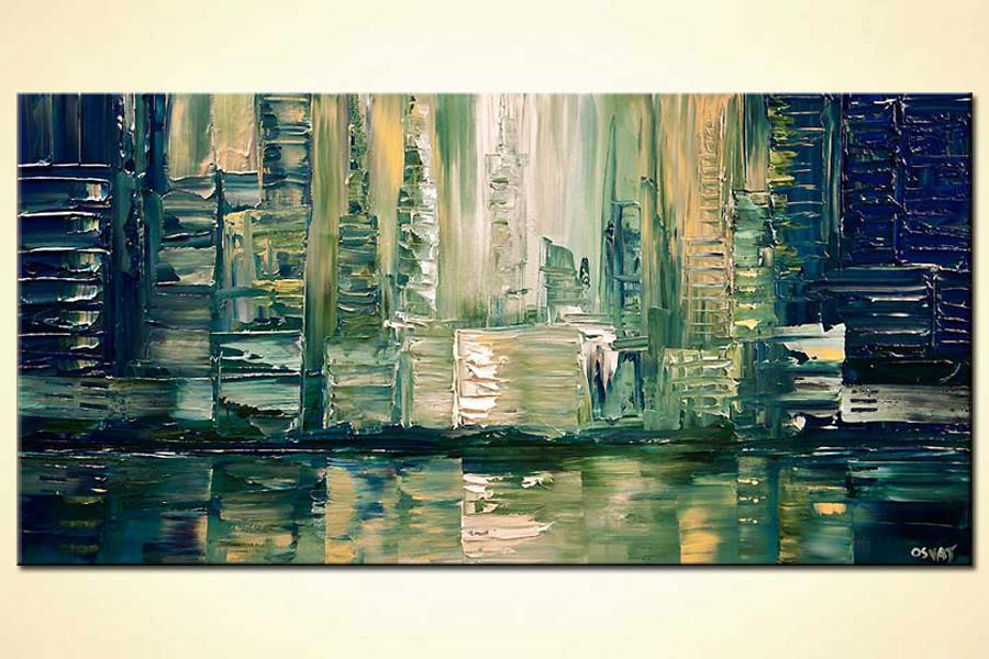 abstract city painting impasto texture palette knife