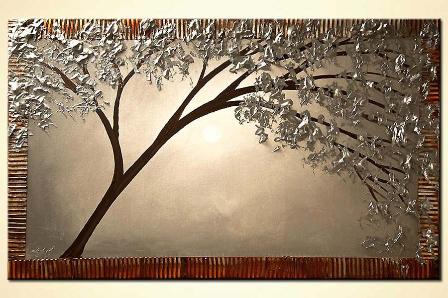 blooming silver tree painting textured painting