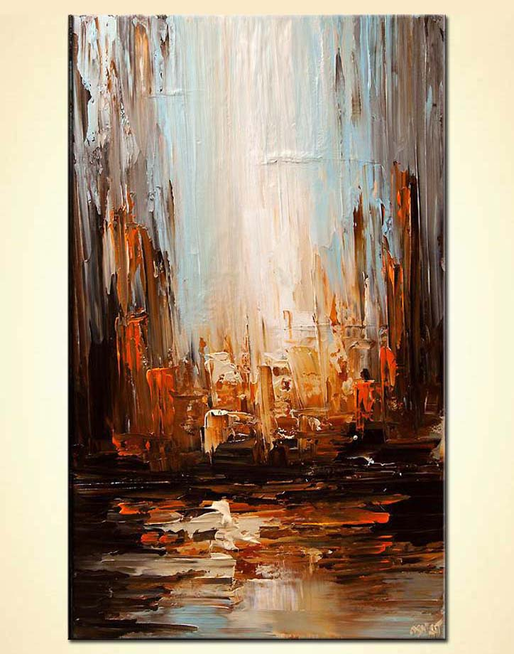 contemporary abstract city painting heavy texture palette knife