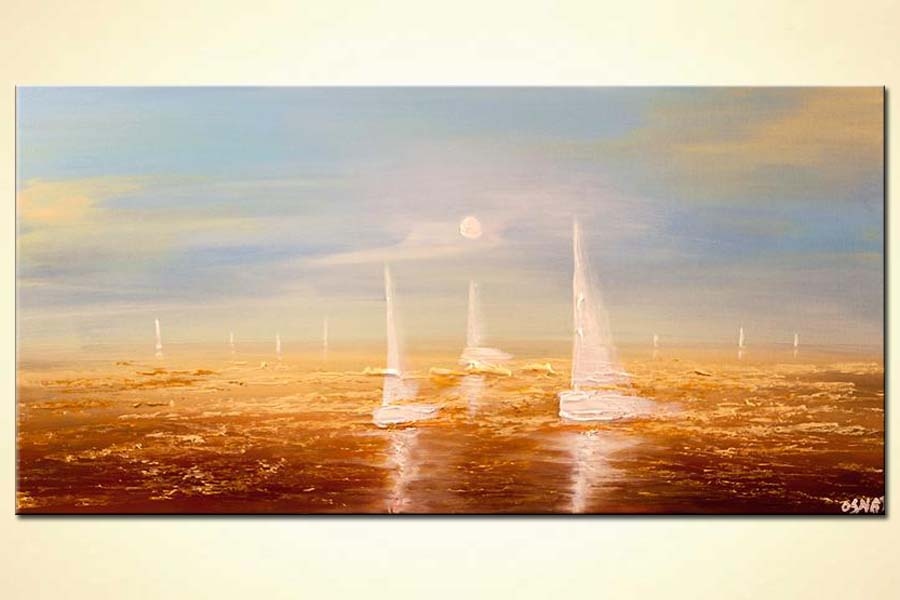 contemporary abstract sail boats painting