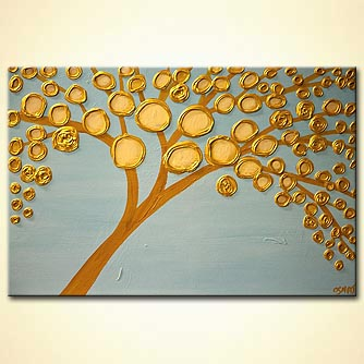 gold tree on light blue background heavy texture abstract tree painting