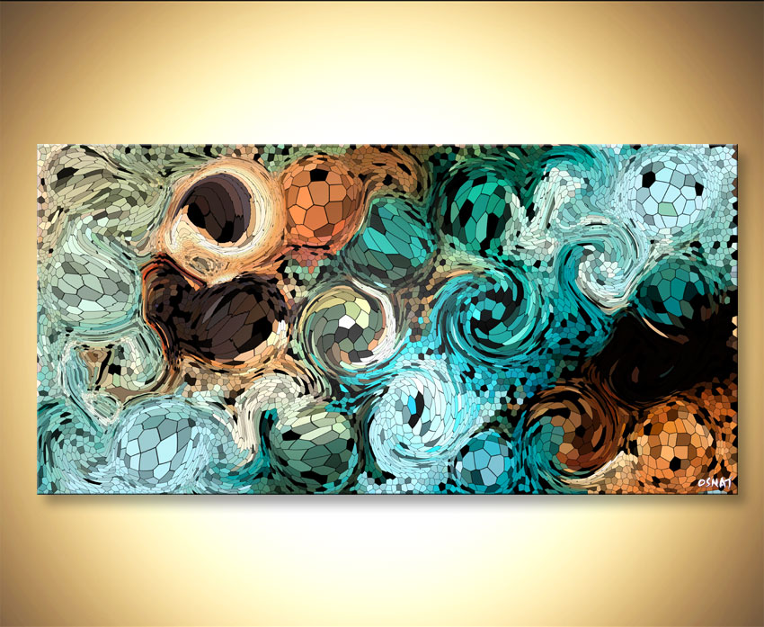 Prints painting - Modern Digital Art Giclee Print on Canvas #9152