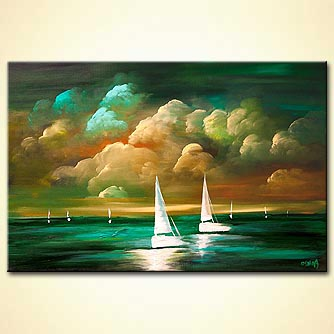turquoise seascape abstract sunset painting