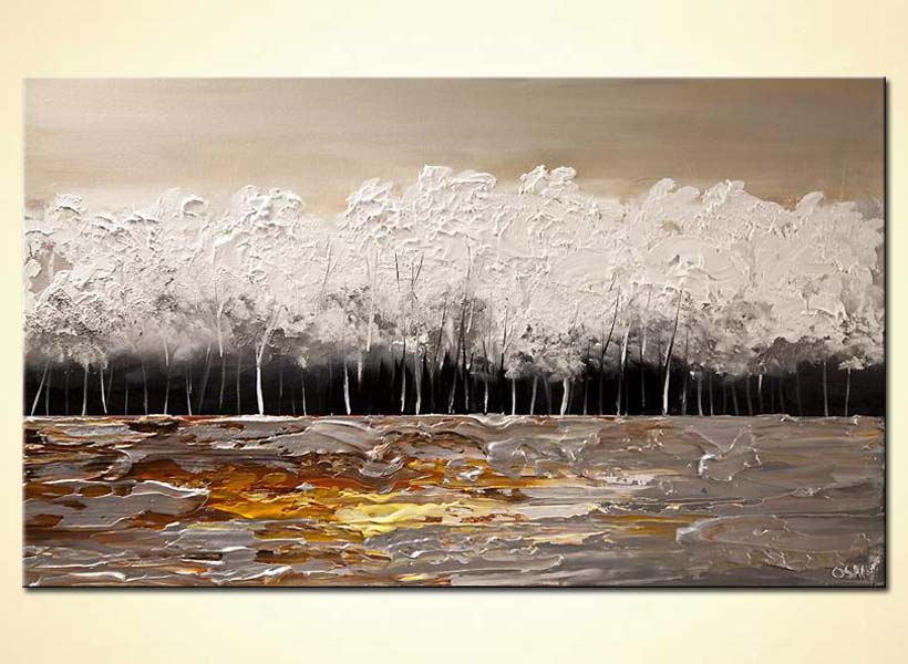 Painting white blooming trees painting modern palette for White canvas painting