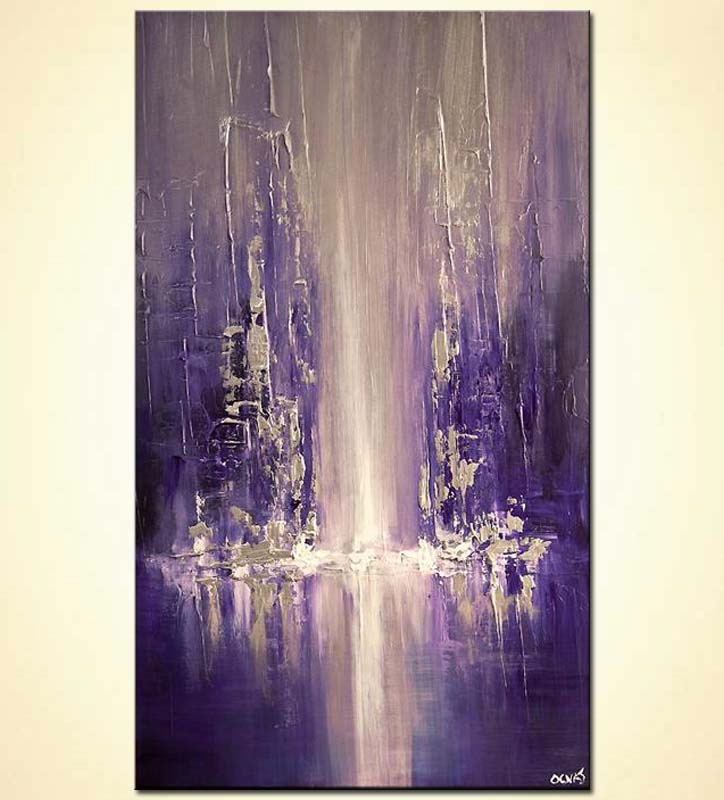 Painting For Sale Modern City Painting Blue Purple
