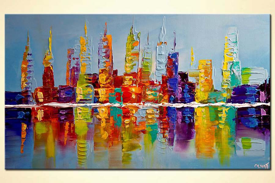 painting for sale modern city skyline colorful abstract painting