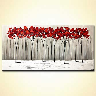 red blooming trees winter painting palette knife