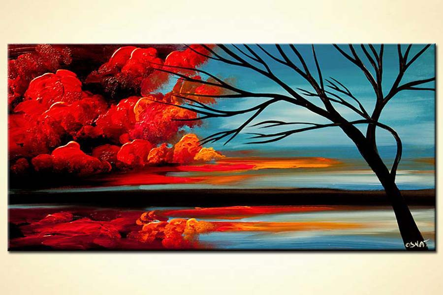 Painting red clouds abstract landscape painting 6283 for Online art gallery paintings