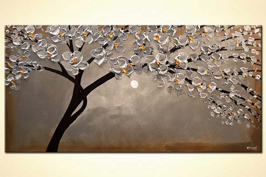 modern abstract art - Silver Blossom