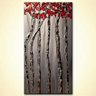 silver birch tree abstract  painting red tree tops palette knife